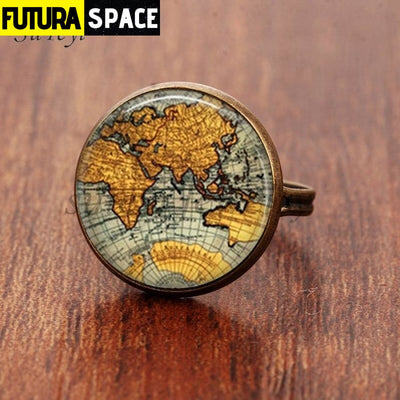 SPACE RING - PLANET EARTH - Resizable / bronze 5 - 100007323
