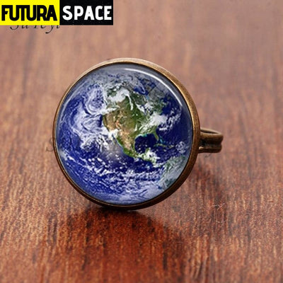 SPACE RING - PLANET EARTH - Resizable / bronze 1 - 100007323