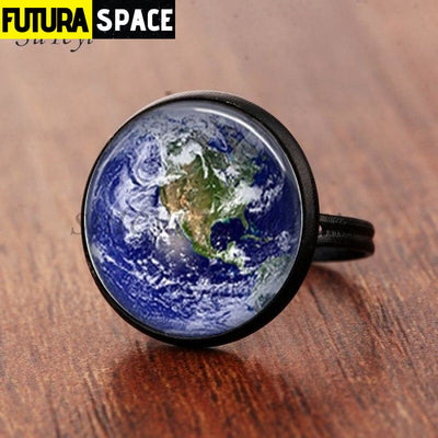 SPACE RING - PLANET EARTH - Resizable / black 1 - 100007323