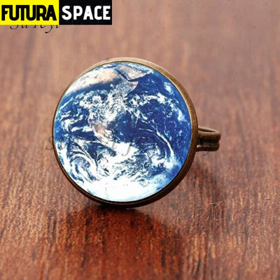SPACE RING - PLANET EARTH - Resizable / bronze 4 - 100007323