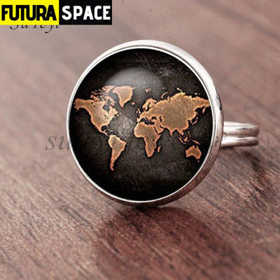 SPACE RING - PLANET EARTH - Resizable / silver 2 - 100007323