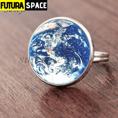 SPACE RING - PLANET EARTH - Resizable / silver 4 - 100007323