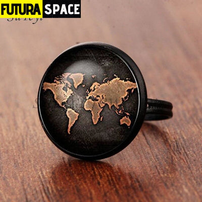 SPACE RING - PLANET EARTH - Resizable / black 2 - 100007323