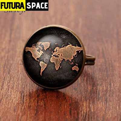 SPACE RING - PLANET EARTH - Resizable / bronze 2 - 100007323
