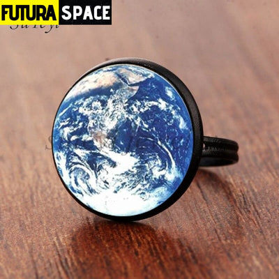 SPACE RING - PLANET EARTH - Resizable / black 4 - 100007323