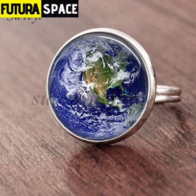 SPACE RING - PLANET EARTH - Resizable / silver 1 - 100007323
