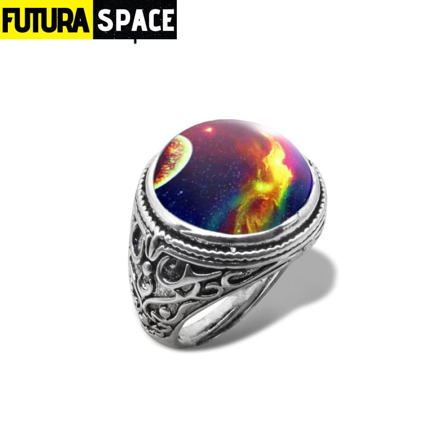 SPACE RING - UNIVERSE - Resizable / 4 / Gold-color -