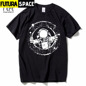 SPACE SHIRT - Tops Tees Loose Short Funny T-shirts - Black /