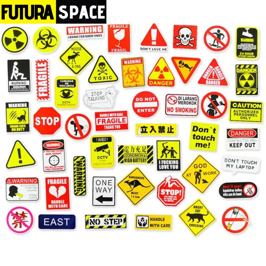 SPACE STICKERS - 50 Pcs Warning