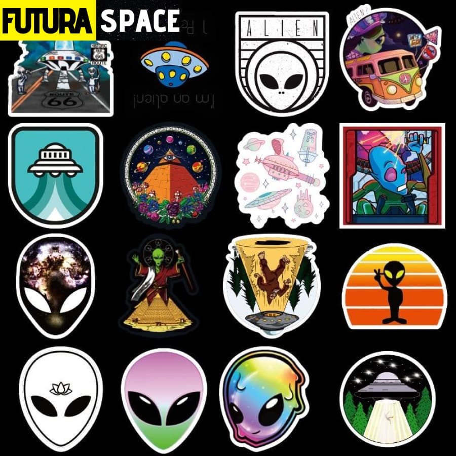 SPACE STICKERS - 50PCS UFO Alien Astronaut