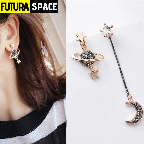 SPACE UNIVERSE EARRINGS - Rose Gold Color / White -