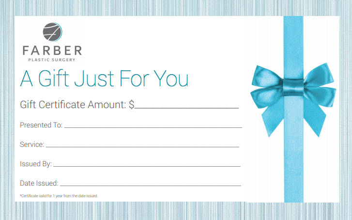 Farber Plastic Surgery Gift Certificate $100