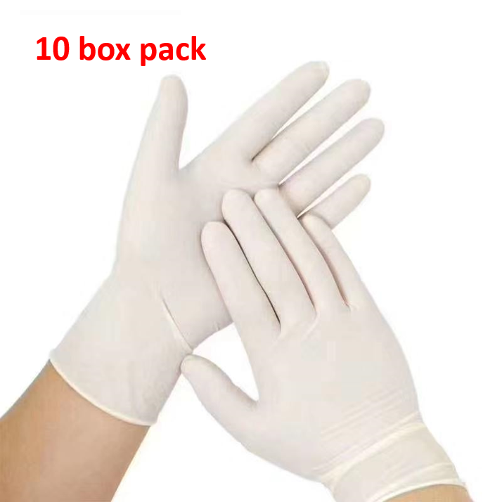 Disposable Latex Gloves - 10 packs | 100 count each