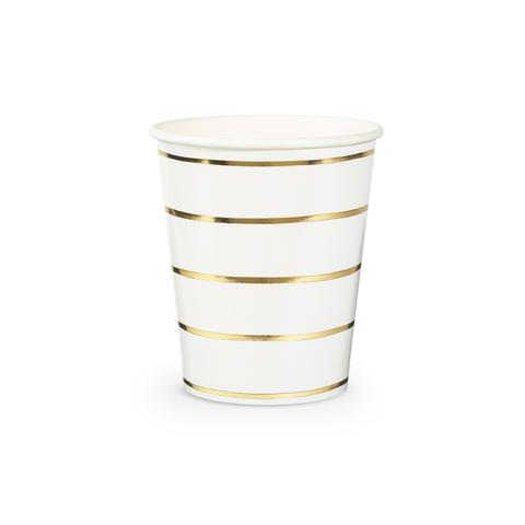 GOLD STRIPE PARTY CUPS