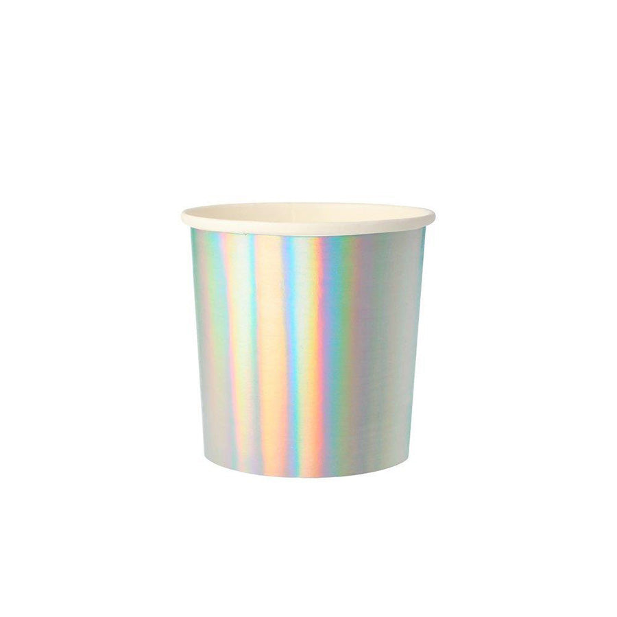 SHORT SILVER HOLOGRAPHIC PARTY CUPS