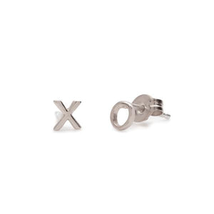 SILVER TINY XO EARRINGS