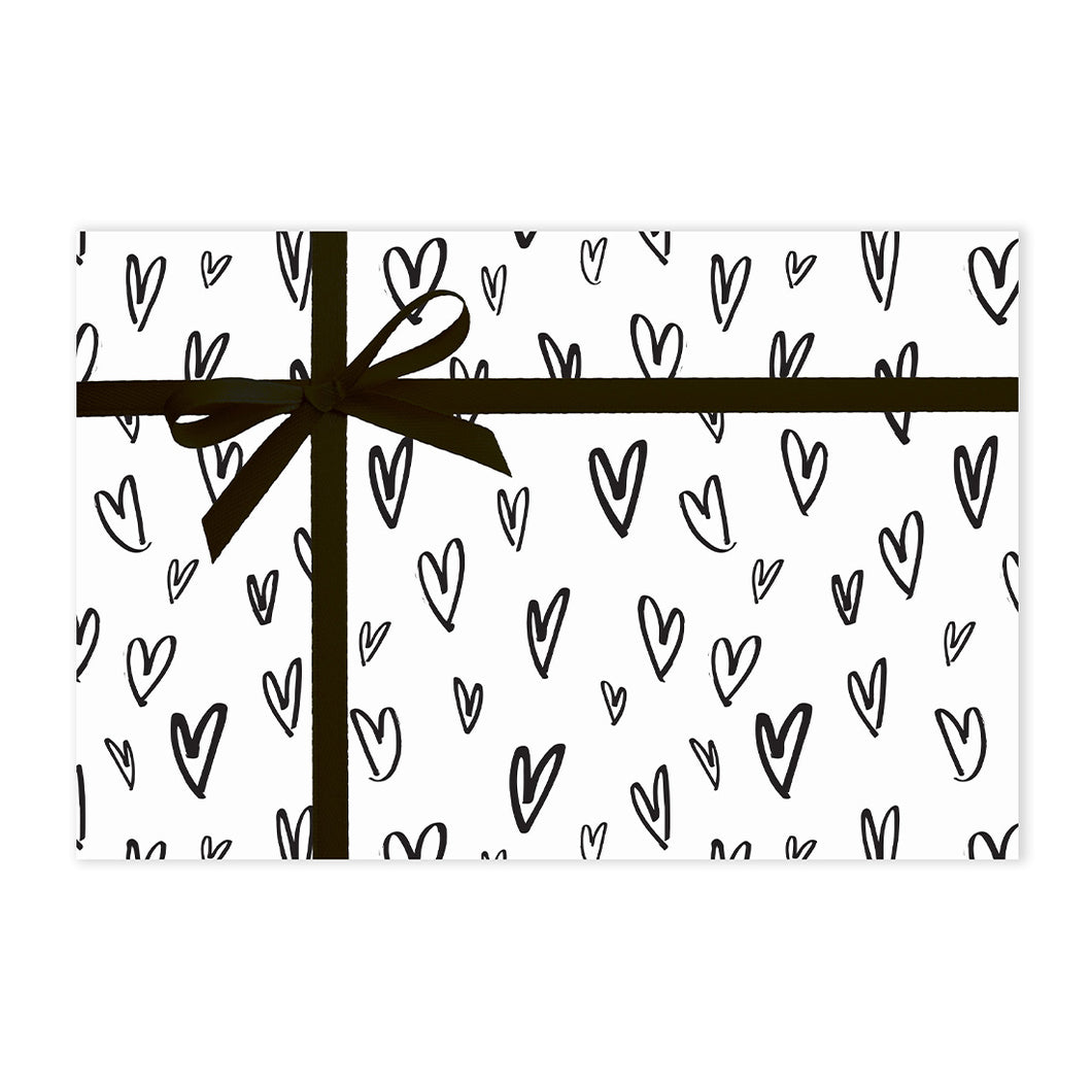 B&W HEARTS GIFT WRAP