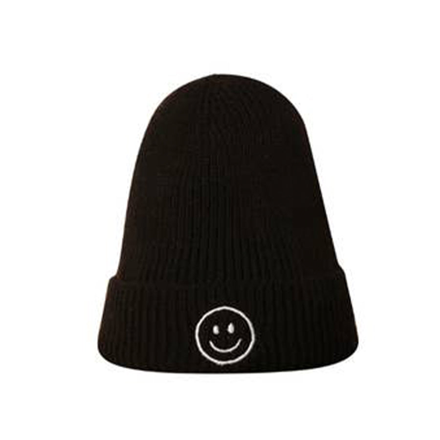 BLACK HAPPY FACE BEANIE