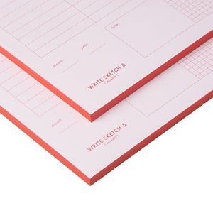 PINK & RED WEEKLY PLANNER NOTEPAD