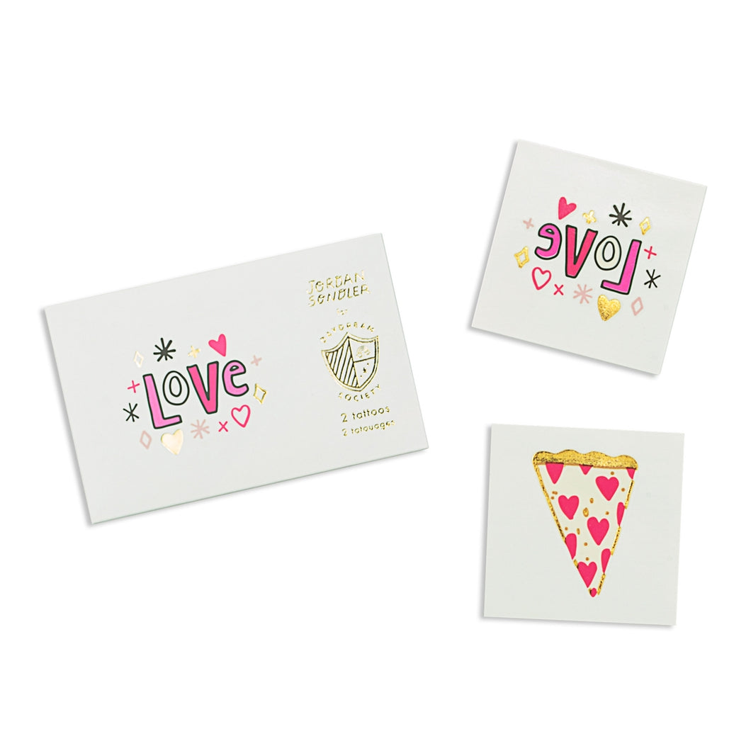 LOVE & HEART PIZZA TATTOOS