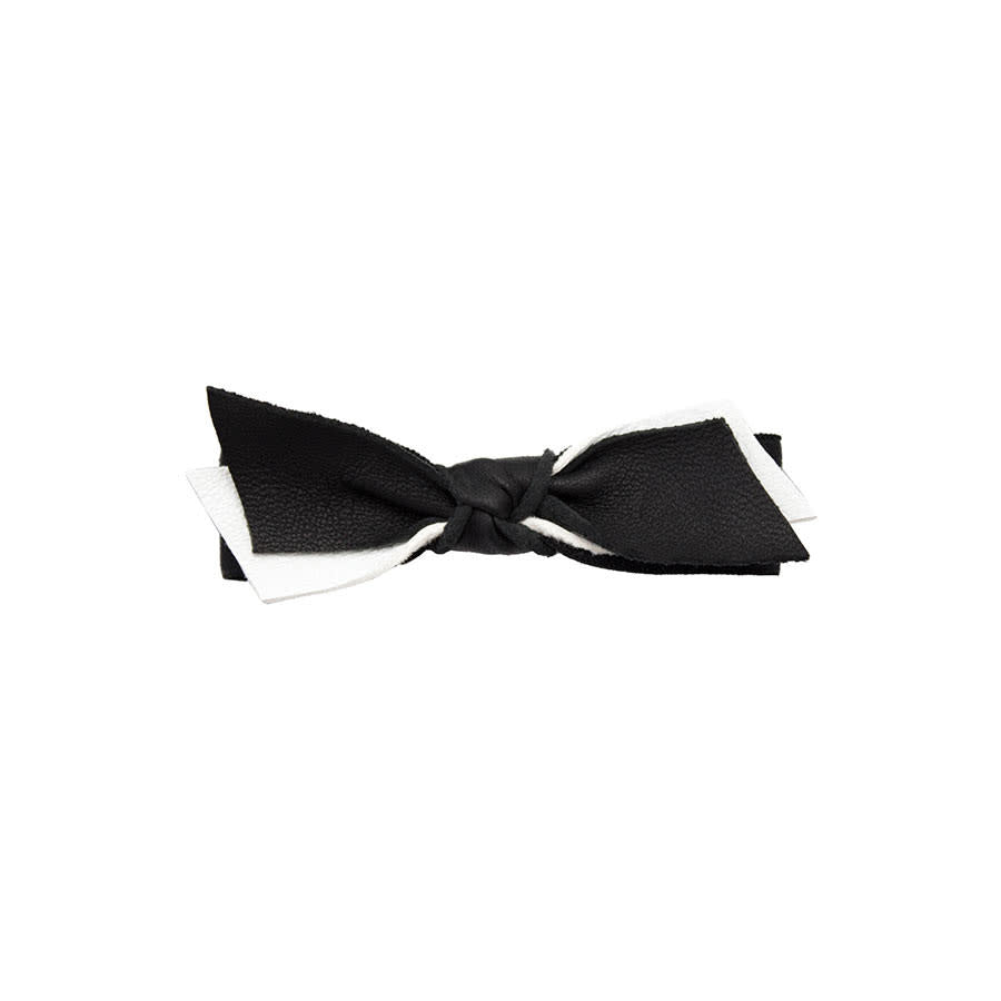 BLACK & WHITE LEATHER BOW HAIR TIE