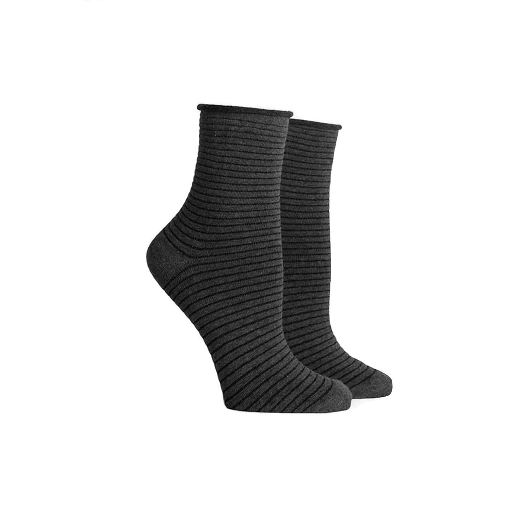 GRAY + BLACK METALLIC STRIPE SOCKS