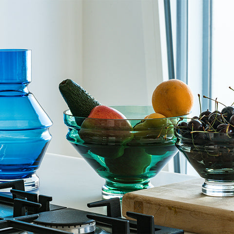 Raawii Relae vase and bowls on display with fruit