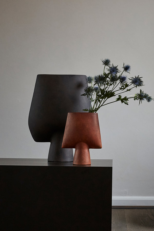 101 Copenhagen Sphere Vase Square Mini in terracotta with blue flowers Mette Collections Australia (4515200106595)