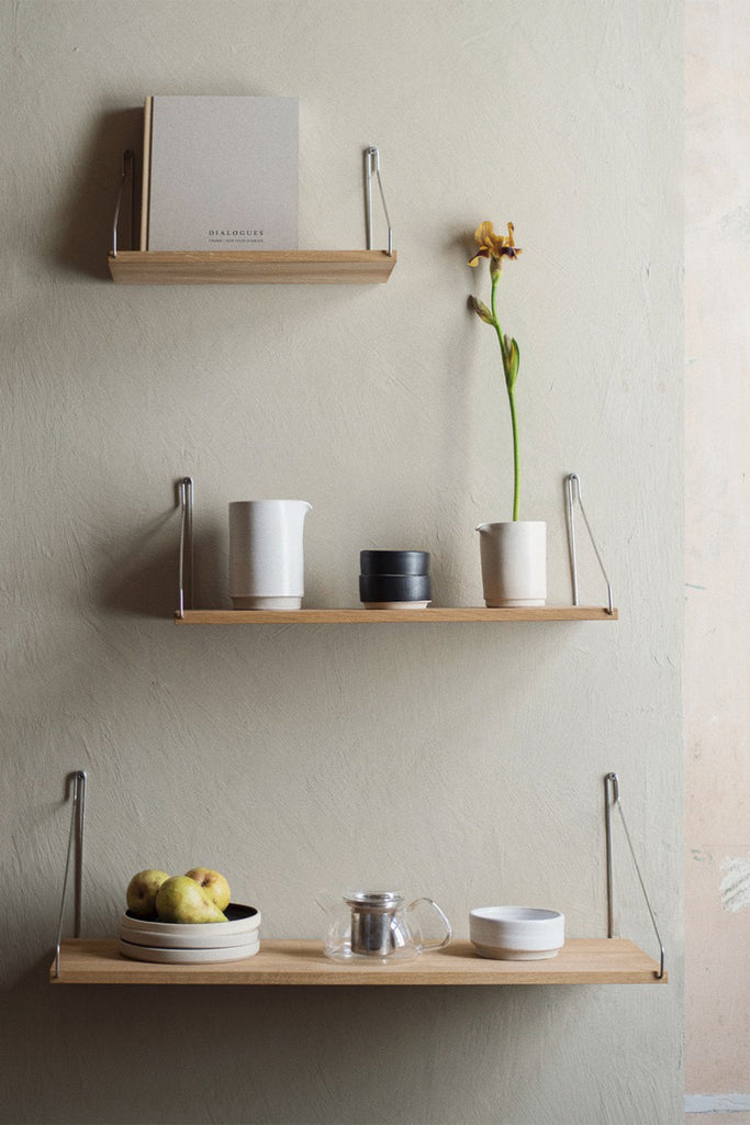 Frama D27 W80 white oiled steel bracket shelf pictured below two other sizes in the range - Mette Collections Australia (4517046845539)