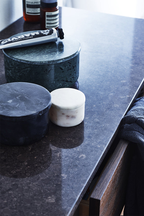 Louise Roe Ganni green marble bowl in a bathroom setting with Marvis toothpaste and Aesop products  - Mette Collections Australia (4525427916899)