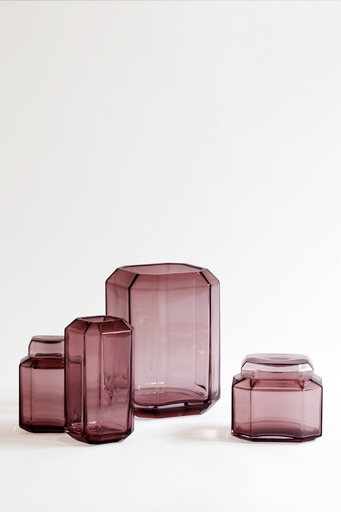LOUISE ROE medium Jewel Vase amongst the range in burgundy glass  - Mette Collections Australia (4523185045603)