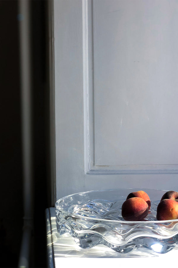 Matias Moellenbach's clear Blister Fruit Bowl on display with fresh nectarines  - Mette Collections Australia (4442331447395)