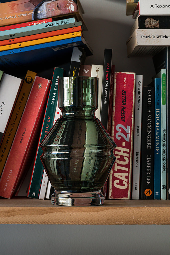 Raawii Relæ Glass Vase on display against a bookshelf  - Mette Collections Australia (4528570237027)