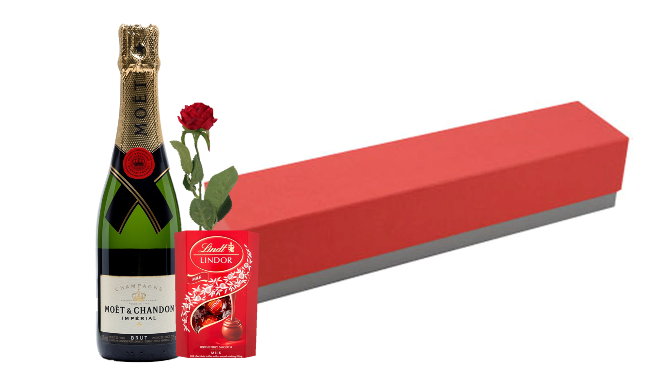 Moet Champagne & Rose Giftset