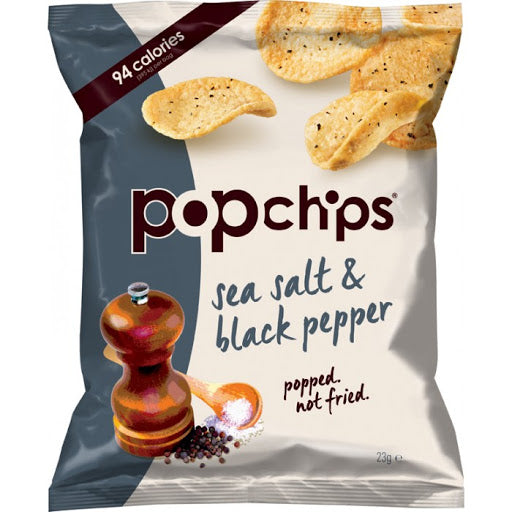 Popchips Sea Salt & Black Pepper Popped Potato Chips 23g