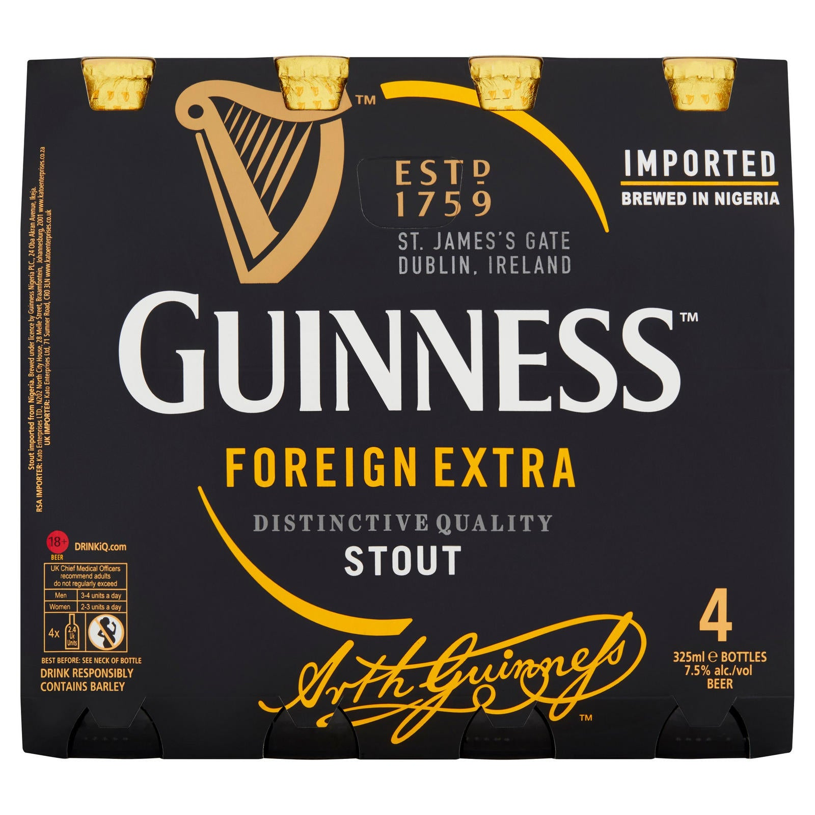 Guinness Foreign Extra Stout Nigerian Bottle 4 x 325ml
