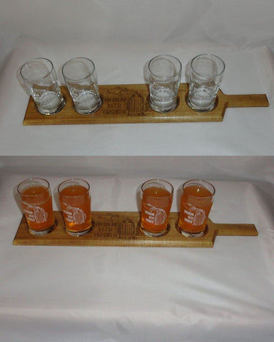 Wood Beer Flight Plus 5 oz Mini Pilsner Taster Glasses (set of 4) with MBD logo