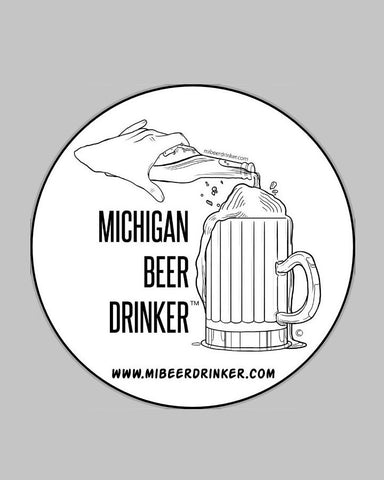 "Michigan Beer Drinker™ logo 5"" Round Black and White Sticker"