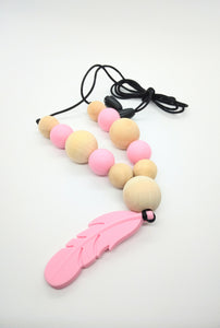 Chewellery - Pink Feather and Wood Bead Necklace