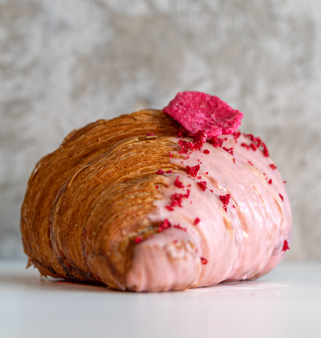 Raspberry, Rose & White Chocolate Croissant
