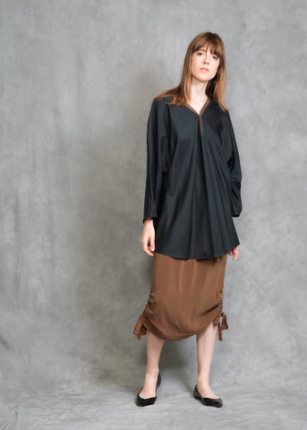 SNAP-UP TUNIC IN BLACK SILK