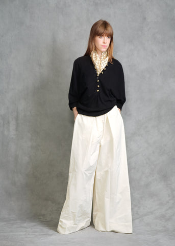 BILLOWING TROUSER IN CREME TWILL