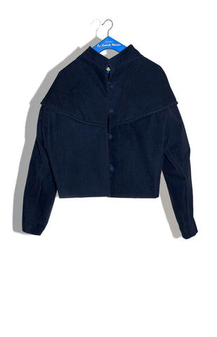 RUDINE CHUBBY JACKET IN INDIGO STRETCH CUT-VELVET