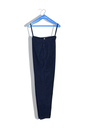 SCAMP TROUSER IN INDIGO STRETCH CUT-VELVET