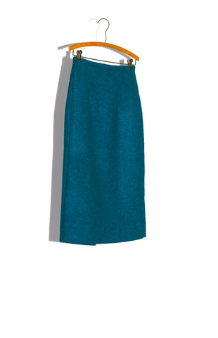 PENCIL SKIRT IN CARPET BLUE BOILED WOOL