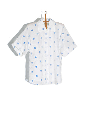 SOFT BUTTON-UP IN FLOCKED DOT