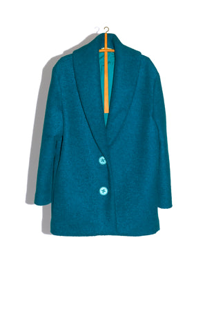 NIGHTCAP OVERCOAT IN CARPET BLUE BOILED WOOL