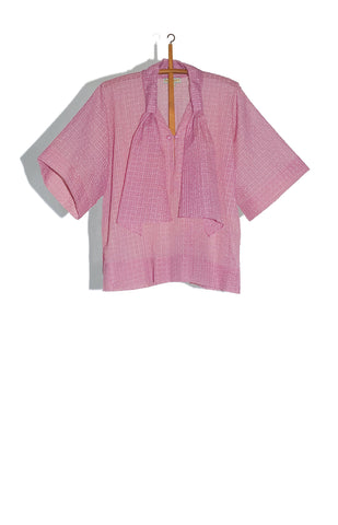 ORCHID SHEER WAFFLE WORKSHIRT WITH SCARF DETAIL