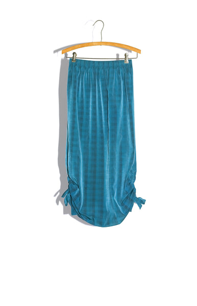 TEAL PLAID TUBE SKIRT WITH DRAWSTRING DETAIL