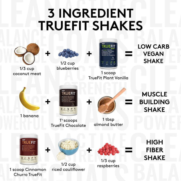 RSP Nutrition, TrueFit Meal Replacement, Grass-Fed Whey Protein Shake with Fruits & Veggies - Suggested Use